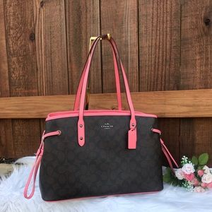 Coach Purse Brown And Pink Lemonade